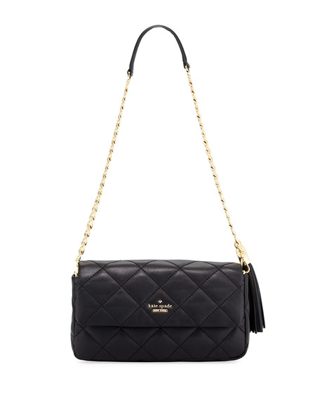 kate spade new york emerson place serena quilted shoulder bag, black