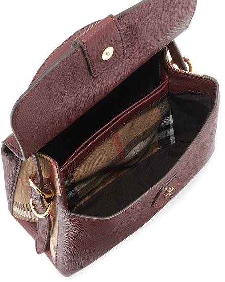 Camberley Small House Check Saffiano Tote Bag, Dark Red