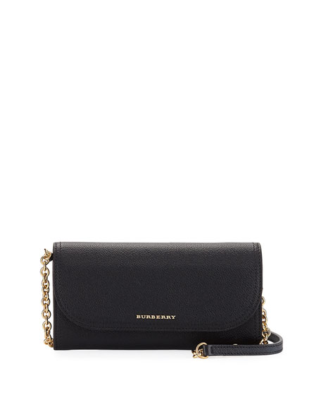 Burberry Henley Leather Wallet-on-Chain, Black