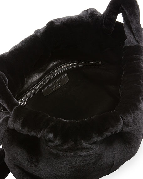 Mink Fur Knapsack Bag, Black