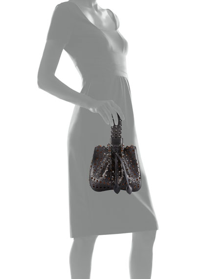 Lux Laser Cut Bucket Bag, Noir