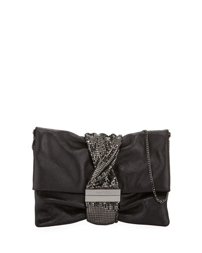 Chandra/M Metallic Clutch Bag, Black