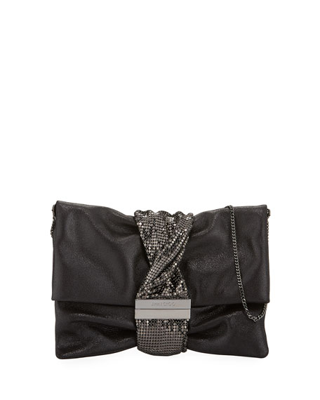 Chandra Metallic Clutch Bag, Black