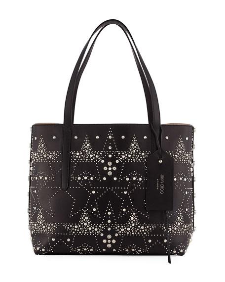 Twist East-West Star Stud Tote Bag, Black