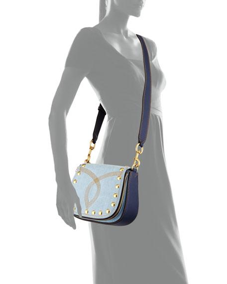 Nomad Small Studded Saddle Bag, Denim