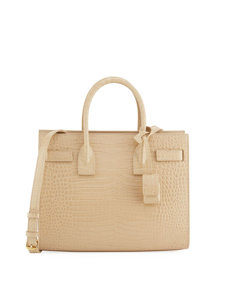 Saint Laurent Sac de Jour Baby Croc-Embossed Leather
