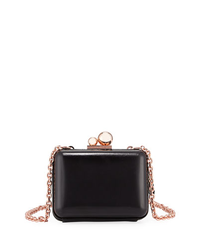 Vivi Butterfly Leather Box Clutch, Black/Multi