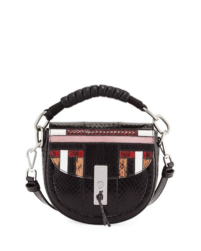 Altuzarra Ghianda Mini Snakeskin Saddle Bag, Multipattern