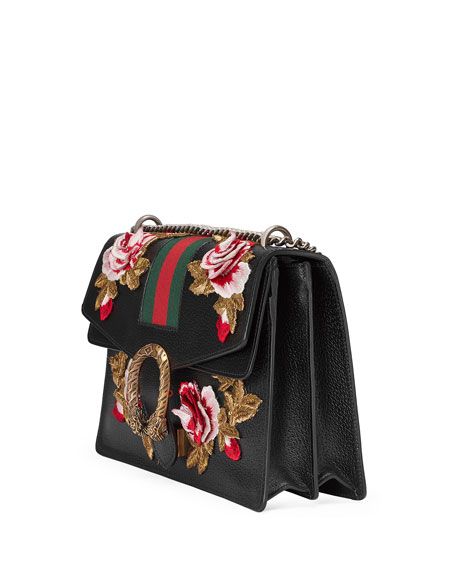 Dionysus Embroidered Leather Shoulder Bag, Black