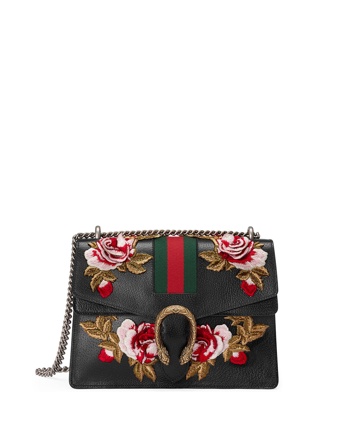 988fa253206d Gucci Dionysus Embroidered Leather Shoulder Bag, Black | Neiman Marcus