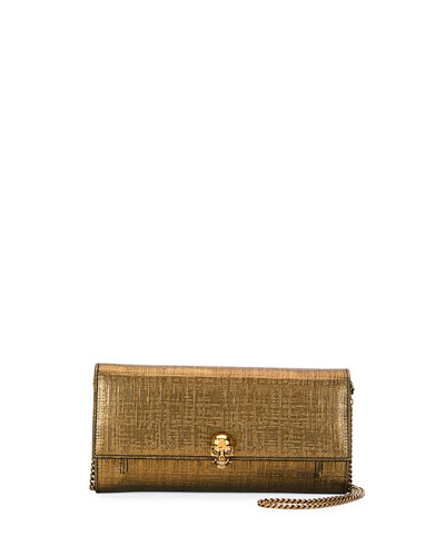 Lino Embossed Wallet On a Chain, Gold
