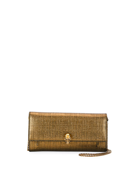 Alexander McQueen Lino Embossed Wallet On a Chain,