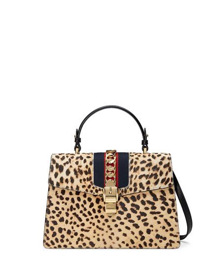Gucci Sylvie Medium Calf-Hair Top-Handle Bag, Neutral
