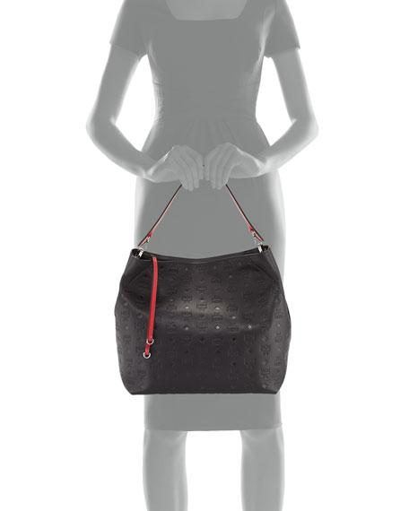 Klara Monogrammed Leather Hobo Bag