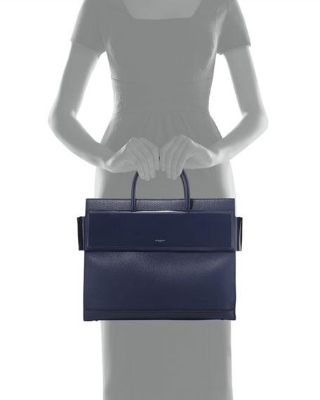 Horizon Medium Textured Leather Tote Bag, Dark Blue