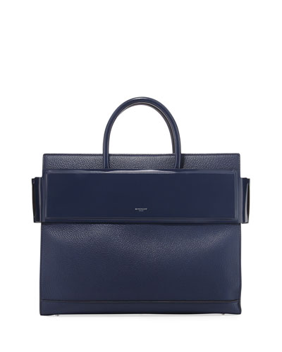 Horizon Medium Textured Leather Tote Bag, Dark Blue