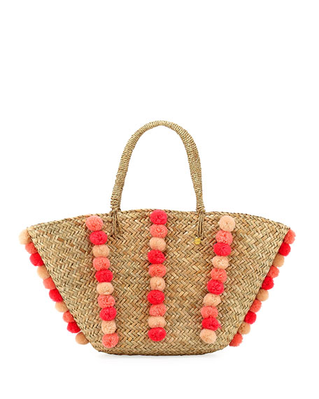 Carried Away Pom-Pom Beach Basket, Natural