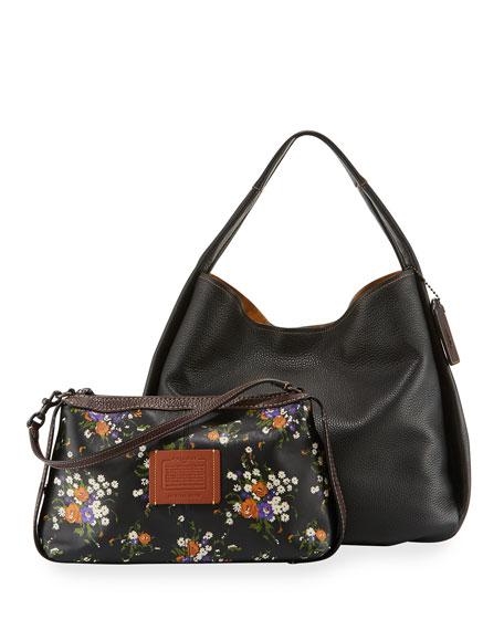 Pebbled Leather Hobo Bag