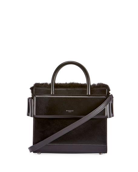Horizon Mini Fur-Trimmed Tote Bag, Black