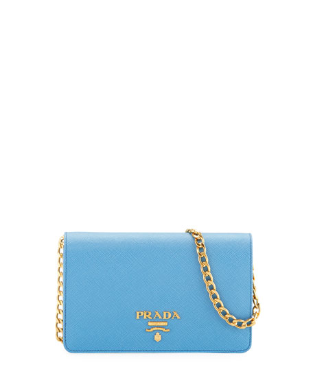 Prada Saffiano Flap Crossbody Wallet-on-Chain