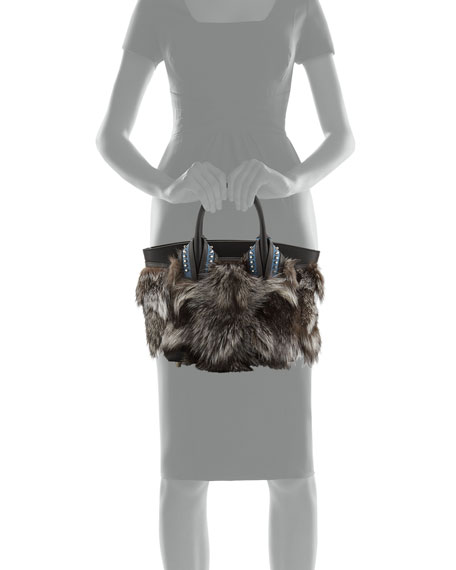 Eloise Glitter-Trimmed Fox Fur Tote Bag, Gray Pattern