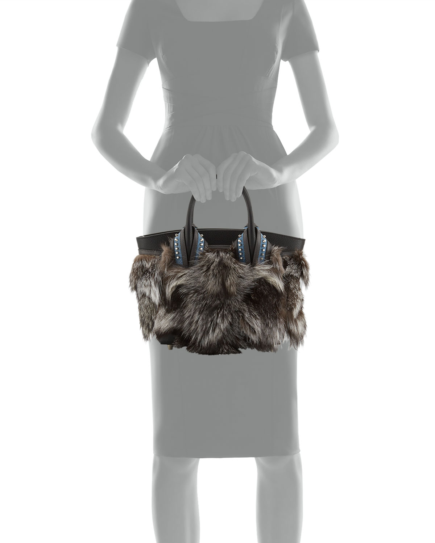 15034a6a50 Christian Louboutin Eloise Glitter-Trimmed Fox Fur Tote Bag, Gray Pattern |  Neiman Marcus