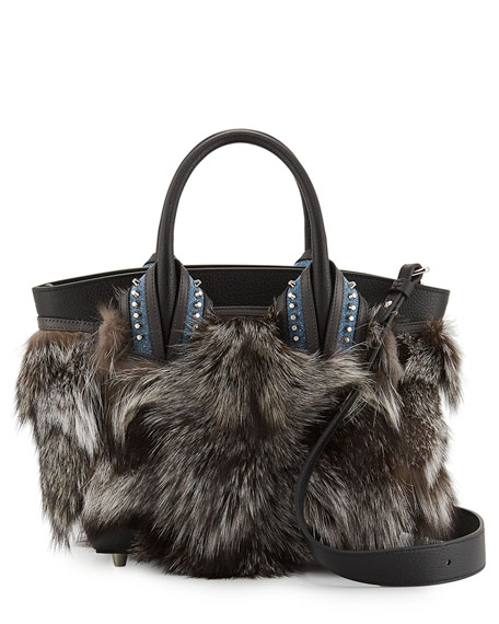 Christian Louboutin Eloise Glitter-Trimmed Fox Fur Tote Bag,
