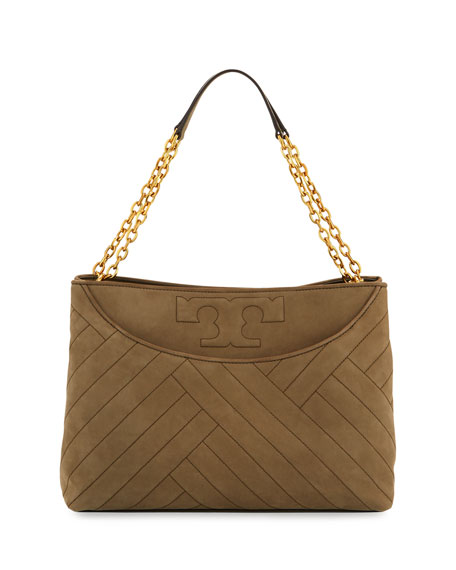Tory Burch Alexa Quilted Suede Tote Bag, Banana