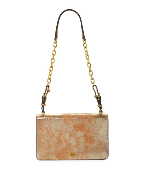 Tory Burch Sadie Metallic Suede Shoulder Bag