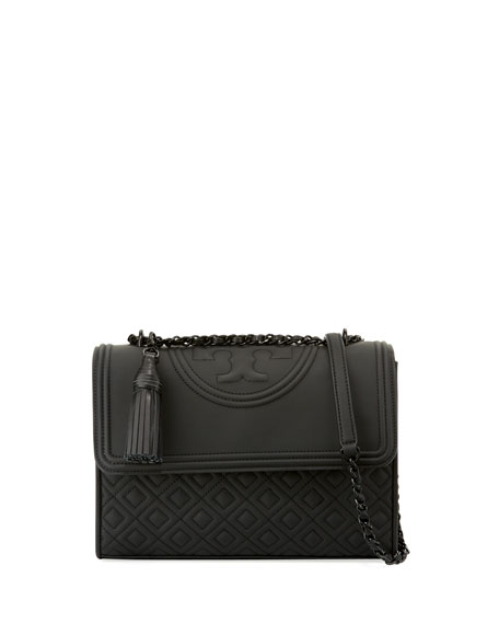Tory Burch Fleming Matte Rubber Shoulder Bag, Black