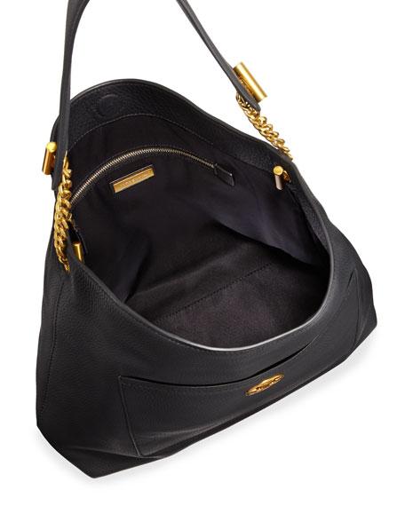 Chelsea Chain Leather Hobo Bag, Black