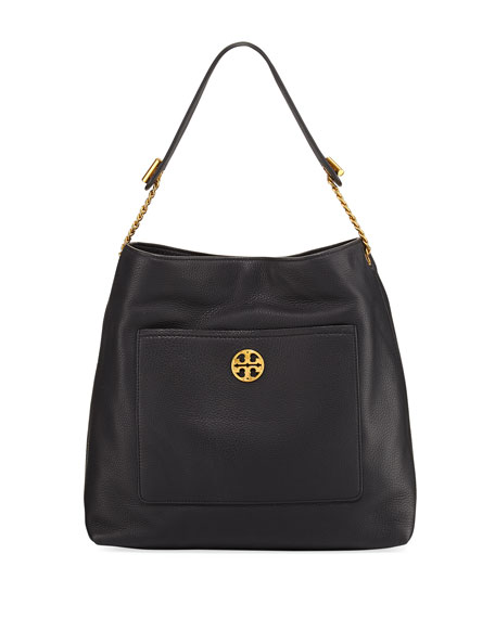 Tory Burch Chelsea Chain Leather Hobo Bag, Black