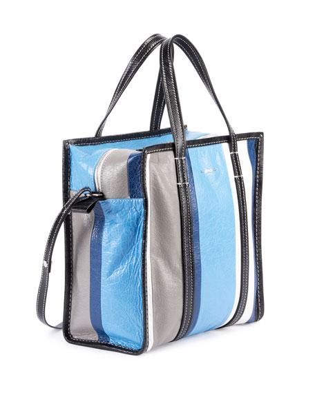 Bazar Shopper Small Striped Leather Tote Bag