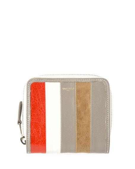 Balenciaga Bazar Striped Billfold Zip-Around Wallet, Multi