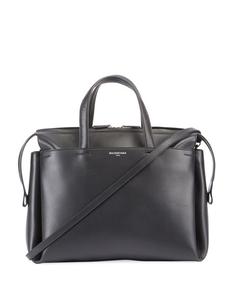 Balenciaga Portfolio Sac Leather Top Handle Bag, Black