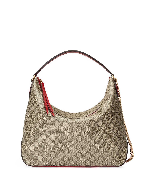 Gucci Linea A Large GG Supreme Canvas Hobo Bag  35e6b11fa8ab4
