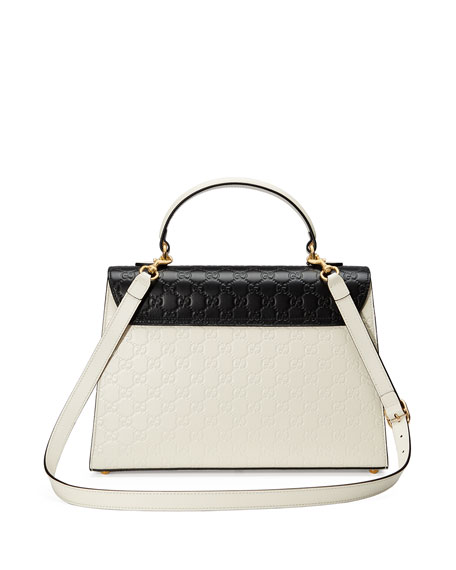 Padlock Medium Guccissima Top-Handle Bag, White/Black