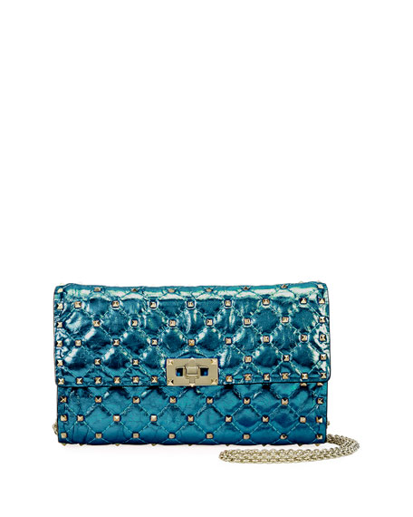 Rockstud Spike Medium Quilted Shoulder Bag, Blue