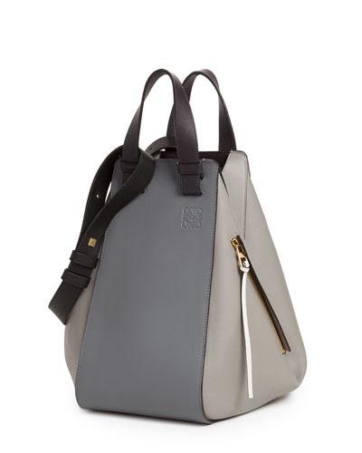 Smooth Leather Hammock Bag, Gray