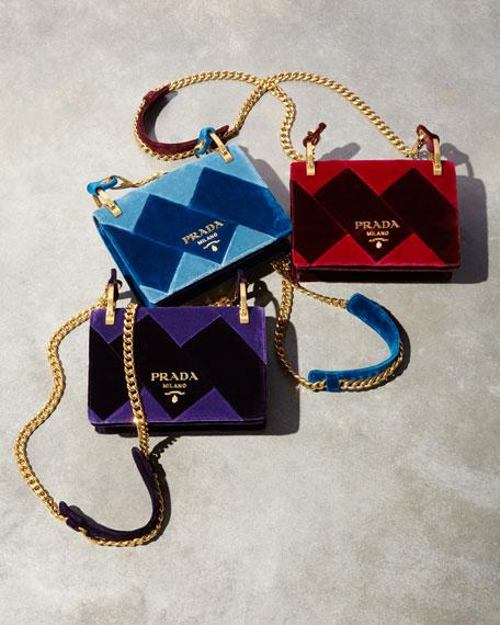 Geometric Velvet Chain Bag