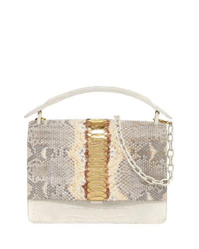 Python Medium Top Handle Bag, Gold/Multi