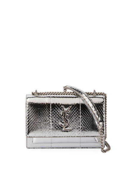 Sunset Monogram Snakeskin Wallet on a Chain, Silver