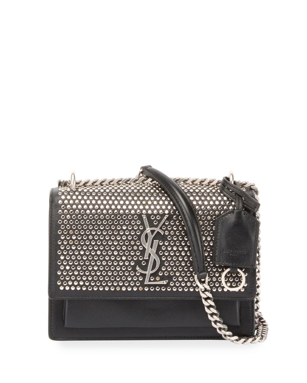 9a7485b182f Saint Laurent Monogram Sunset Medium Studded Chain Shoulder Bag, Black