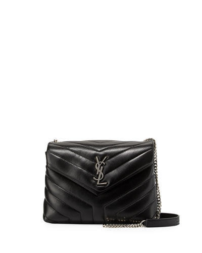 Loulou Monogram Small Y-Quilted Leather Chain Bag, Black