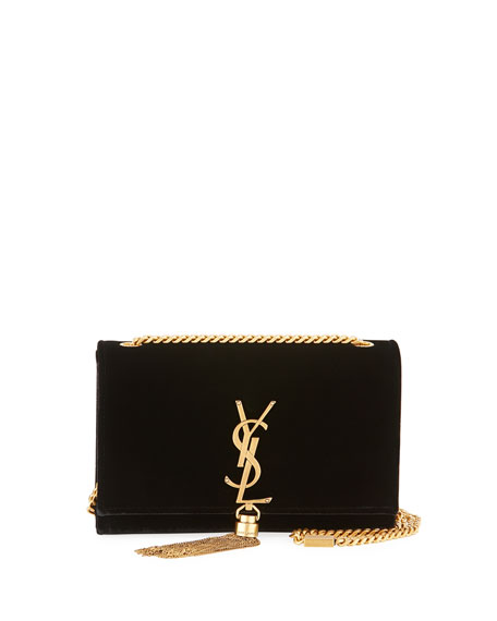 Saint Laurent Kate Small Monogram Velvet Tassel Bag,