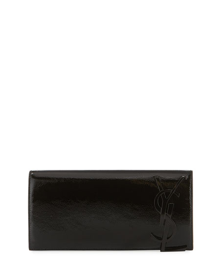 Smoking Monogram Patent Leather Clutch Bag, Black