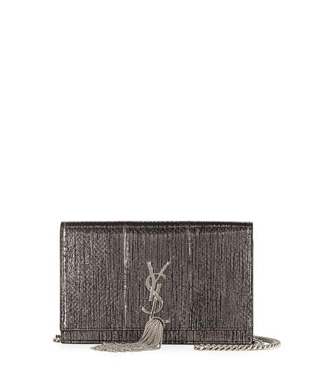 Saint Laurent Kate Monogram Snakeskin Tassel Wallet on