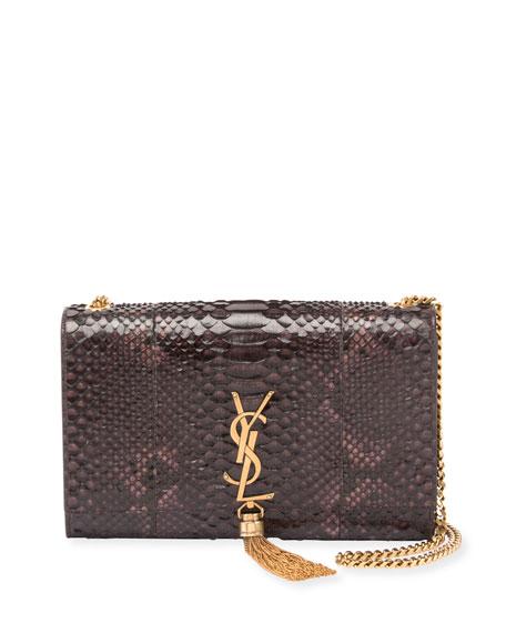 Saint Laurent Kate Medium Monogram Python Tassel Bag,