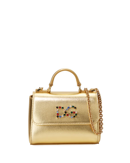 91d571debf4a Dolce   Gabbana Girls  Metallic Leather DG Top-Handle Shoulder Bag ...