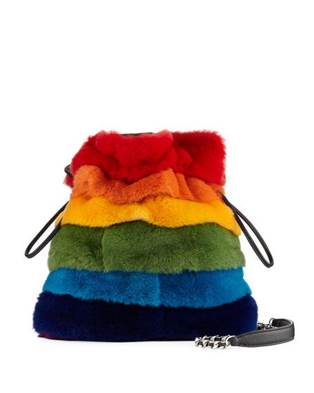Les Petits Joueurs Trilly Rainbow Fur Bucket Bag